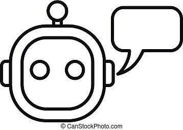 Smart chatbot icon. Outline smart chatbot vector icon for web design isolated on white background