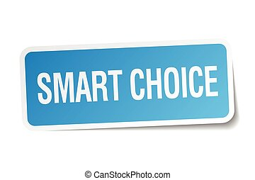 smart choice blue square sticker isolated on white