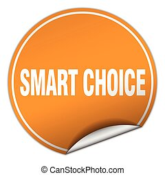 smart choice round orange sticker isolated on white