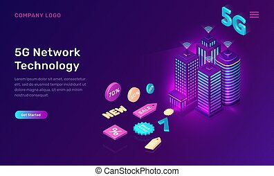 Smart city, 5G wireless network technology, isometric concept vector illustration. Tall buildings with symbol wireless internet and sale icons isolated on ultraviolet background