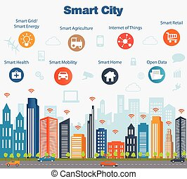 Smart city concept with different icon and elements. Modern city design with future technology for living. Illustration of innovations and Internet of things. Internet of things/Smart city