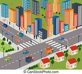 Smart city concept and Wireless network of vehicle Modern ...