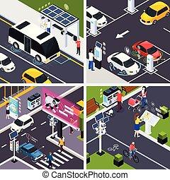 Smart City Concept Icons Set