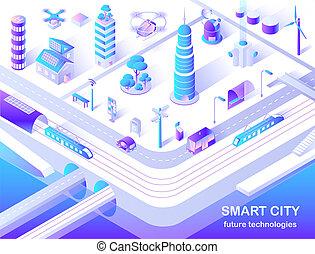 Smart City Future Technology Isometric Flowchart