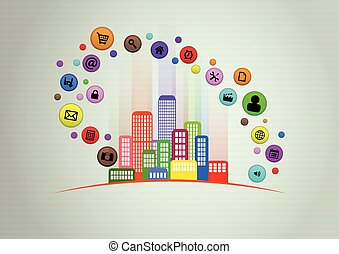 smart city - illustration of colorful urban city with...