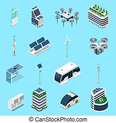 Smart City Isometric Icons Set