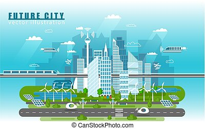 Smart city landscape of the future vector concept illustration in flat style. City urban skyline with modern technologies and self-driving cars. Future infrastructure and transportation.