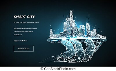 Smart city low poly wireframe on blue background. City ...