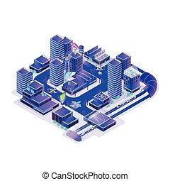 Smart city model isolated on white background. Urban area...
