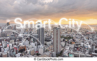 Smart city, Network connection technology in the city in sunset
