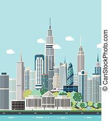 Smart city skyline vector illustration.