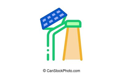 smart city solar battery Icon Animation. color smart city solar battery animated icon on white background