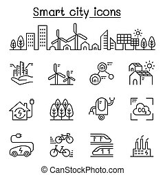 Smart city, Sustainable town, Eco friendly city icon set in thin line style