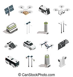 Smart City Technology Isometric Icons Set