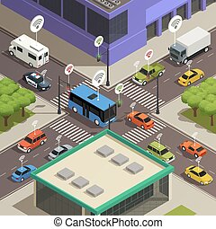 Smart City Traffic Isometric  Composition