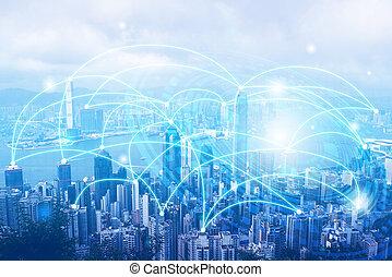 Smart city. Wireless Internet technology background. mixed media