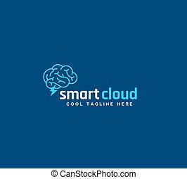 Smart Cloud Abstract Vector Emblem, Sign or Logo Template. Brain with Blizzard Silhouette Concept on Blue Background