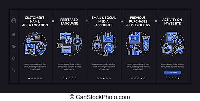 Smart content analytics criteria onboarding vector template. Responsive mobile website with icons. Web page walkthrough 5 step screens. Digital marketing dark mode concept with linear illustrations