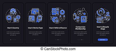 Smart content analytics criteria onboarding vector template. Responsive mobile website with icons. Web page walkthrough 5 step screens. Digital marketing night theme concept with linear illustrations