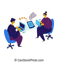 Smart contract concept. A man and a girl conclude a blockchain contract via laptop. Payment for services by bitcoins. Girl and guy sitting at laptops and working on electronic contract. Illustration flat