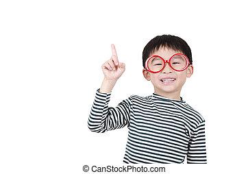 Smart cute boy thinking