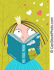 Smart Cute Little Girl Reading Fairy Tale Book