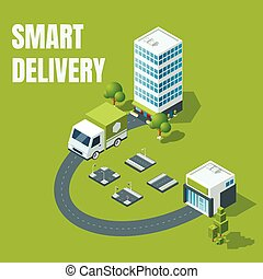 Smart delivery vector concept