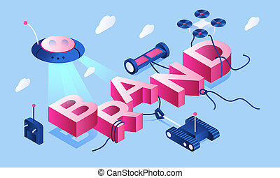Smart device brand banner, isometric style