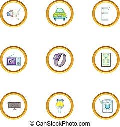 Smart device icons set, cartoon style