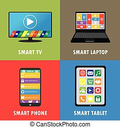 Smart device- smartphone, laptop, tablet, TV, flat design