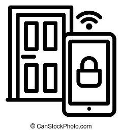 Smart door icon, outline style
