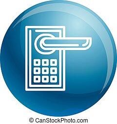 Smart door lock icon, outline style