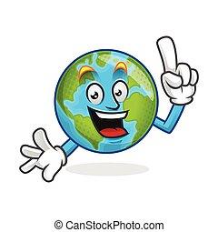 Smart earth mascot, clever earth character, earth cartoon vector