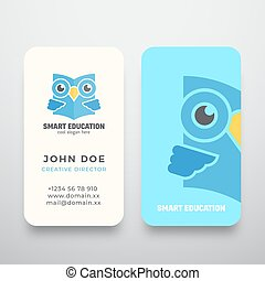 Smart Education Abstract Vector Sign or Logo and Business Card Template. Premium Stationary Realistic Mock Up. Learning Emblem. Flat Style Wise Owl Reading Book Concept with Typography.