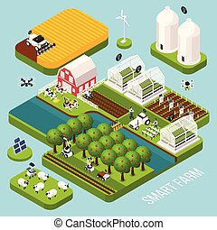 Smart Farm Isometric  Set