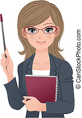 Smart female lecturer holding pointer stick and notebook....