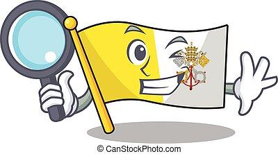 Smart flag vatican city Scroll Detective cartoon character design