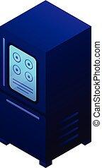 Smart fridge icon, isometric style