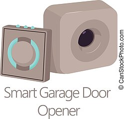 Smart garage door opener icon, cartoon style