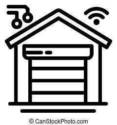 Smart garage icon, outline style