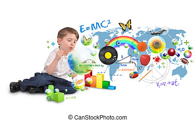A young boy is sitting on a white isolated background blowing bubbles of science, nature, math and art. Use it for an education or creative concept.