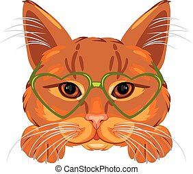 Smart ginger cat in green glasses