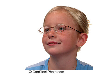 Smart Girl - Blonde 10 year old with hair pulled up and ...