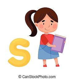 Smart Girl Pupil Holding ABC Book and Standing Near Big ...