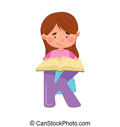 Smart Girl Pupil Standing Near Big Alphabet Letter K and ...