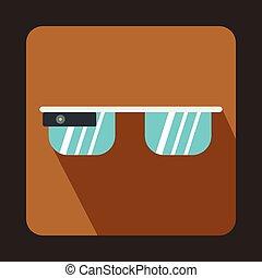 Smart glasses icon, flat style