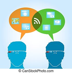 Smart glasses people connexion concept with social media talk bubble and network icons illustration. EPS10 vector file organized in layers for easy editing.