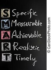 Smart goal concept on blackboard for setting management objectives
