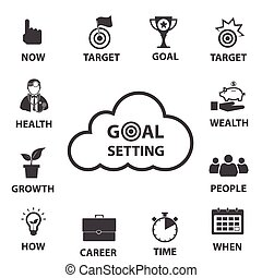 Smart goal setting concept - Business icon set, Smart goal ...
