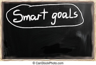 """""""smart, goals"""", manuscrit, à, blanc, craie, sur, a, tableau noir"""
